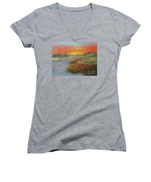 Sunset On The Marsh Women's V-Neck