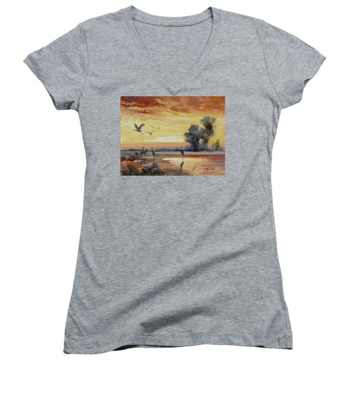 Sunset On The Marshes With Cranes Women's V-Neck T-Shirt (Junior Cut) by Irek Szelag