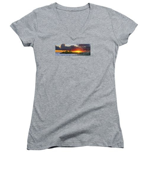 Sunset On The North Shore Of Oahu Women's V-Neck T-Shirt (Junior Cut) by Aloha Art