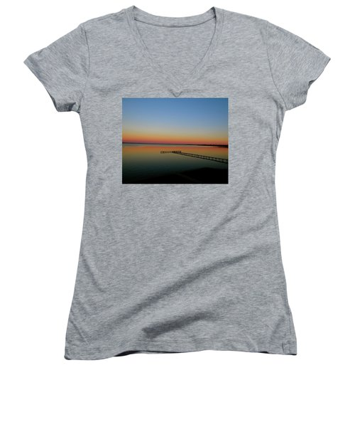 Sunset On The Pier Women's V-Neck (Athletic Fit)