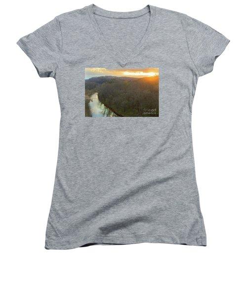 Sunset On The River Women's V-Neck T-Shirt
