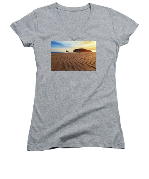 Women's V-Neck T-Shirt featuring the photograph Sunset On The Sands Of Brookings by James Eddy