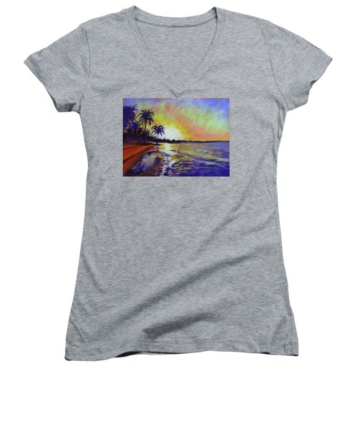 Sunset On The Sea Women's V-Neck