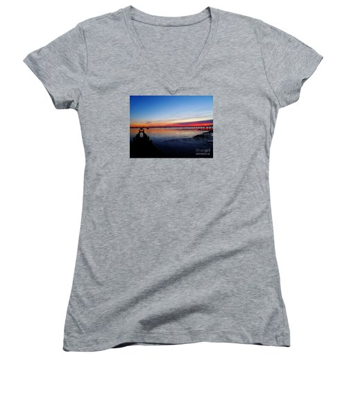 Sunset On The Shore Of Southend Women's V-Neck T-Shirt