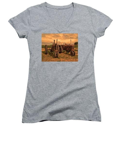 Sunset On The Tractors Women's V-Neck T-Shirt (Junior Cut) by Ken Smith