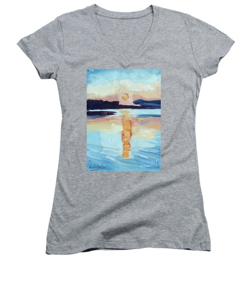 Sunset On Vancouver Island Women's V-Neck (Athletic Fit)