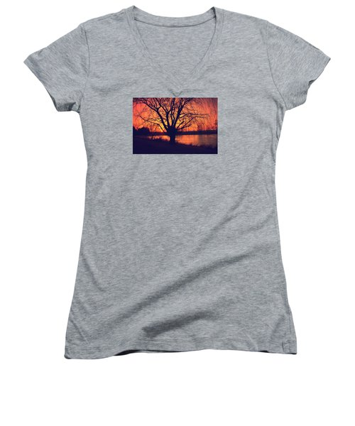 Sunset On Willow Pond Women's V-Neck T-Shirt (Junior Cut) by Kathy M Krause