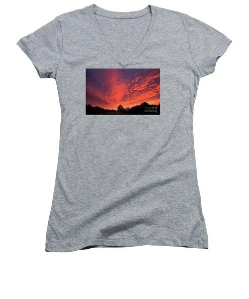 Sunset Over A Maine Farm Women's V-Neck T-Shirt (Junior Cut) by Alana Ranney