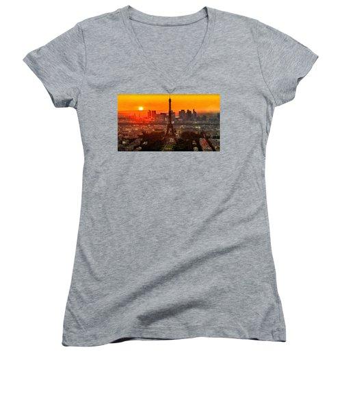 Sunset Over Eiffel Tower Women's V-Neck