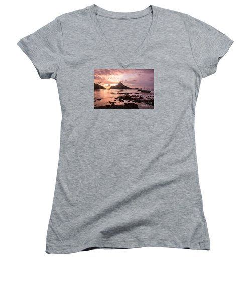 Sunset Over El Nido Bay In Palawan In The Philippines Women's V-Neck
