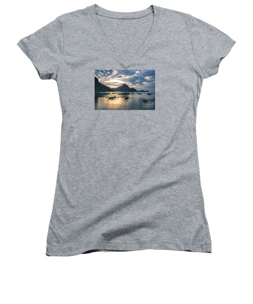Sunset Over El Nido Bay In Palawan, Philippines Women's V-Neck