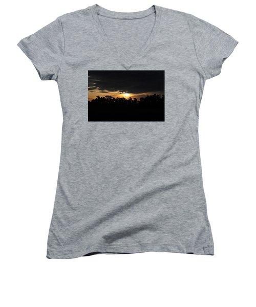 Sunset Over Farm And Trees - Silhouette View  Women's V-Neck T-Shirt (Junior Cut) by Matt Harang