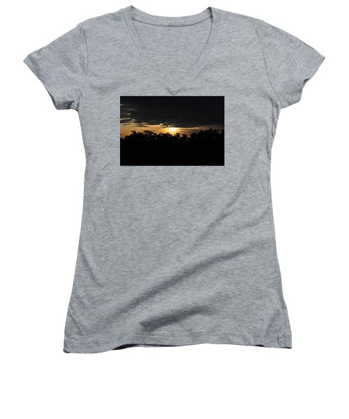 Sunset Over Farm And Trees - Silhouette View  Women's V-Neck T-Shirt (Junior Cut)