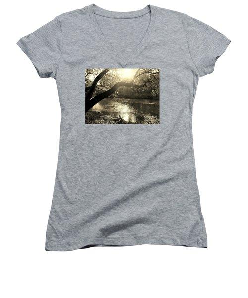 Sunset Over Flat Rock River - Southern Indiana - Sepia Women's V-Neck T-Shirt (Junior Cut) by Scott D Van Osdol