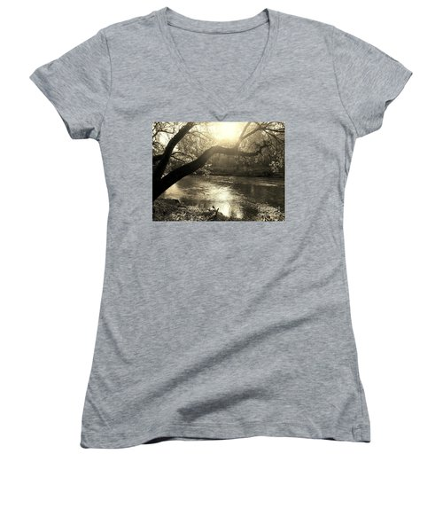 Sunset Over Flat Rock River - Southern Indiana - Sepia Women's V-Neck T-Shirt