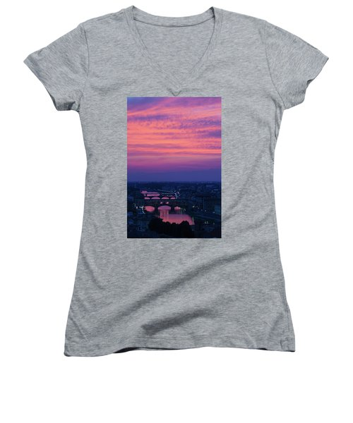 Sunset Over Florence Women's V-Neck (Athletic Fit)