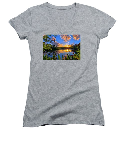 Women's V-Neck T-Shirt (Junior Cut) featuring the photograph Sunset Over Hidden Lake In Jupiter Florida by Justin Kelefas