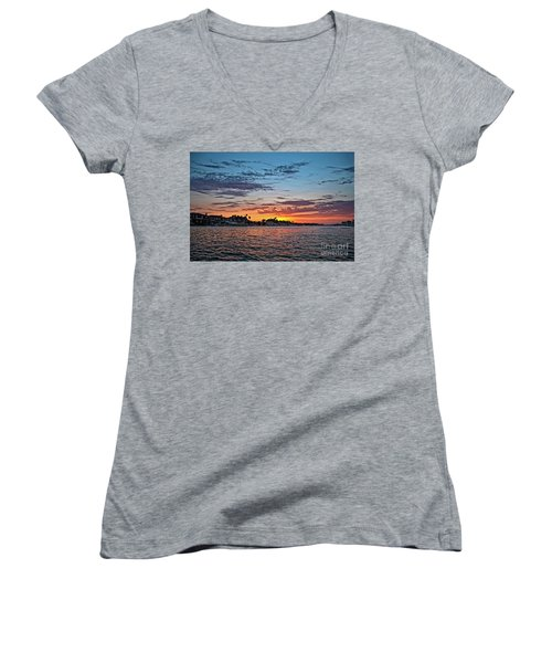 Sunset Over Huntington Harbour Women's V-Neck T-Shirt (Junior Cut) by Peter Dang