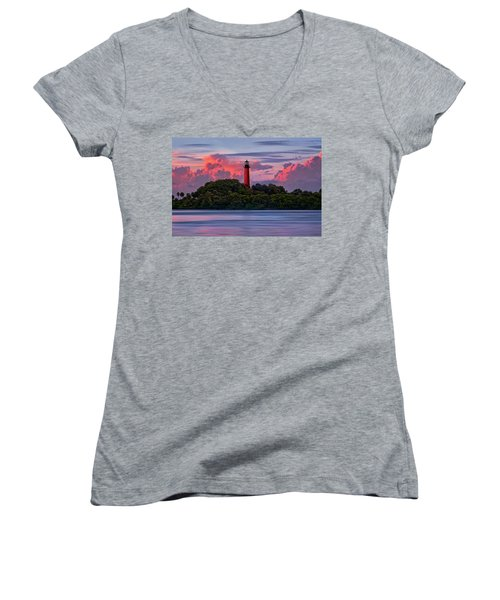 Sunset Over Jupiter Lighthouse, Florida Women's V-Neck