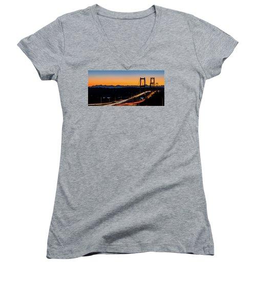 Sunset Over Narrrows Bridge Panorama Women's V-Neck T-Shirt (Junior Cut) by Rob Green