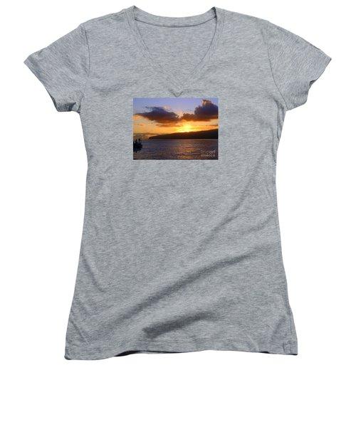 Sunset Over Reunion Island Women's V-Neck T-Shirt (Junior Cut) by John Potts