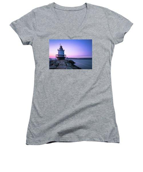 Sunset Over Spring Breakwater Lighthouse In South Maine Women's V-Neck