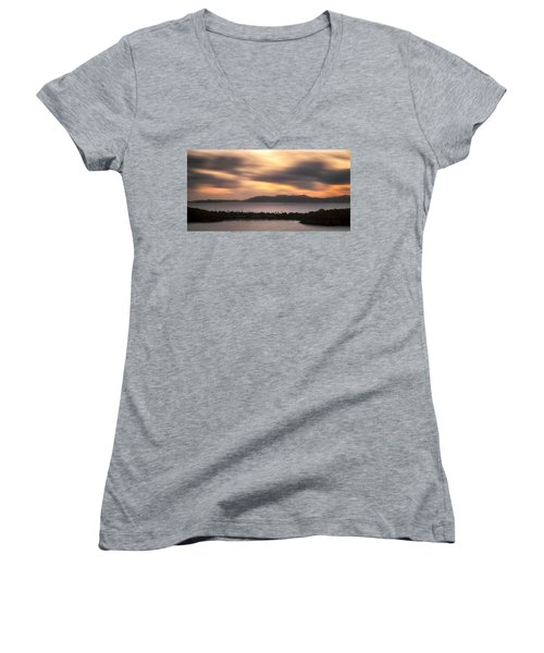 Women's V-Neck T-Shirt (Junior Cut) featuring the photograph Sunset Over St. John And St. Thomas Panoramic by Adam Romanowicz
