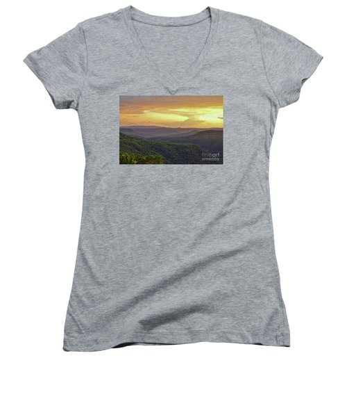 Women's V-Neck T-Shirt featuring the photograph Sunset Over The Bluestone Gorge - Pipestem State Park by Kerri Farley