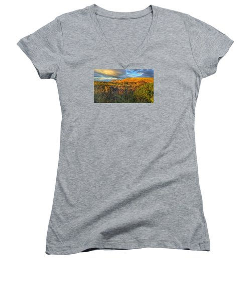 Sunset Over The Campsie Fells Women's V-Neck T-Shirt (Junior Cut) by RKAB Works