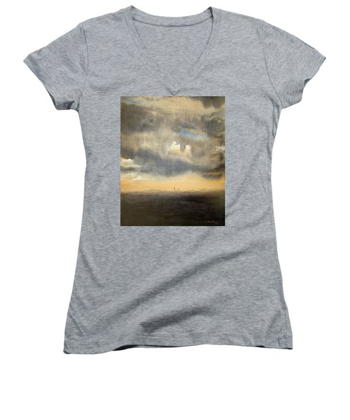 Women's V-Neck featuring the painting Sunset Over The City by Andrew King