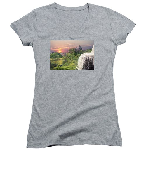 Sunset Over The City Women's V-Neck (Athletic Fit)
