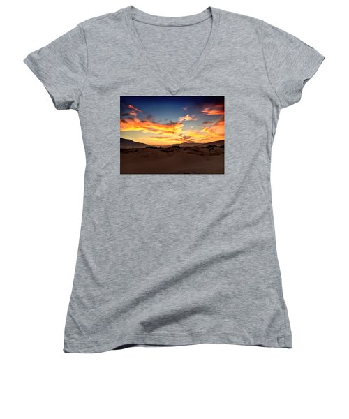 Sunset Over The Desert Women's V-Neck T-Shirt