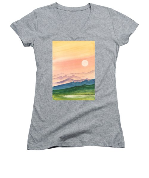 Women's V-Neck featuring the painting Sunset Over The Hills by Asha Sudhaker Shenoy