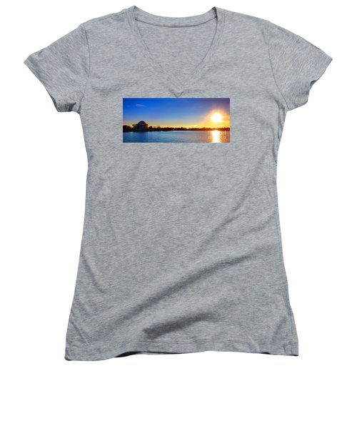 Sunset Over The Jefferson Memorial  Women's V-Neck (Athletic Fit)