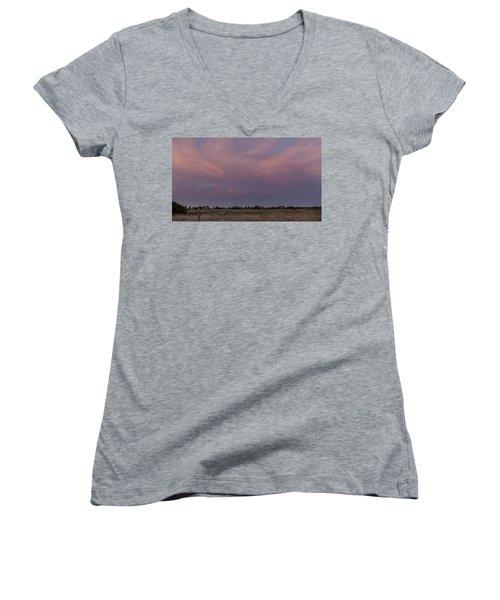 Sunset Over The Wetlands Women's V-Neck