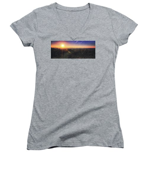 Women's V-Neck T-Shirt (Junior Cut) featuring the photograph Sunset Over Wisconsin Treetops At Lapham Peak  by Jennifer Rondinelli Reilly - Fine Art Photography