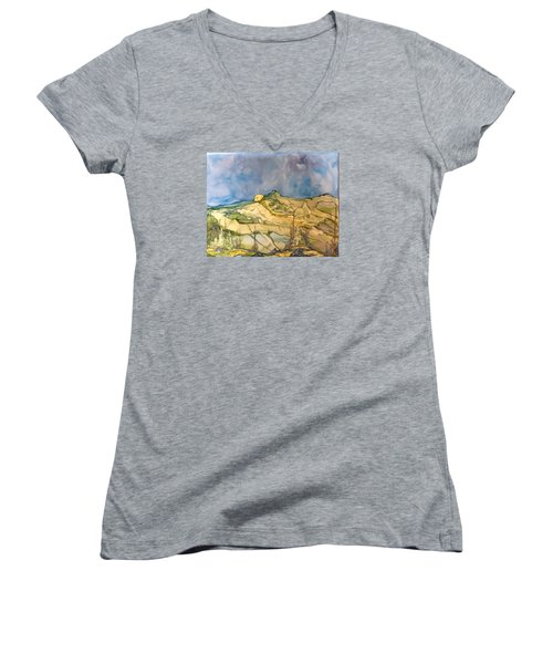 Women's V-Neck T-Shirt (Junior Cut) featuring the painting Sunset by Pat Purdy