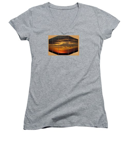 Women's V-Neck T-Shirt (Junior Cut) featuring the photograph Sunset Perspective by Shirley Mangini
