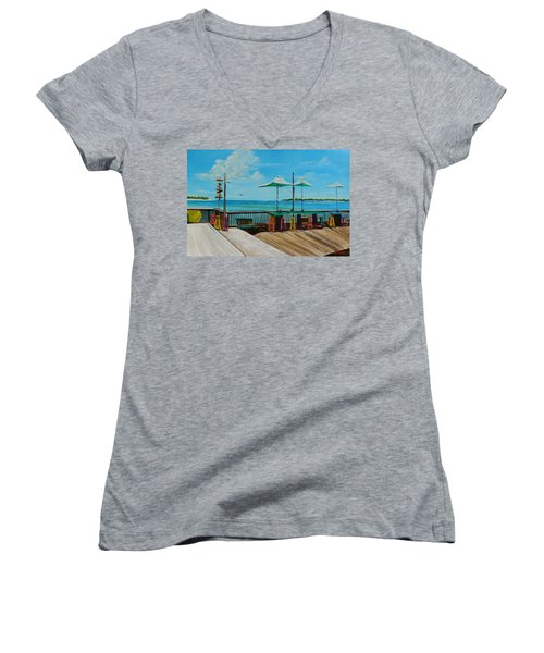 Sunset Pier Tiki Bar - Key West Florida Women's V-Neck T-Shirt