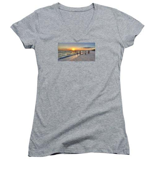 Sunset Pilings Women's V-Neck T-Shirt (Junior Cut)