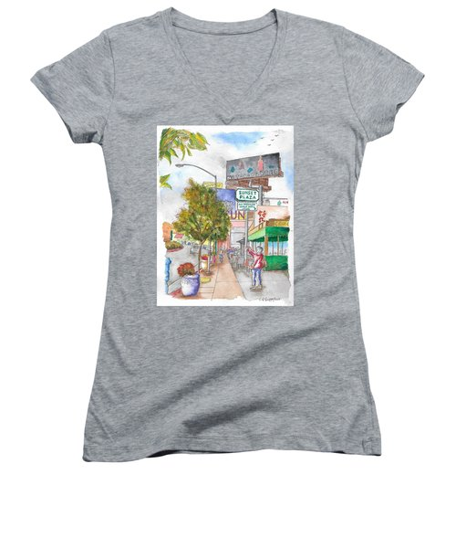 Sunset Plaza, Sunset Blvd., And Londonderry, West Hollywood, California Women's V-Neck