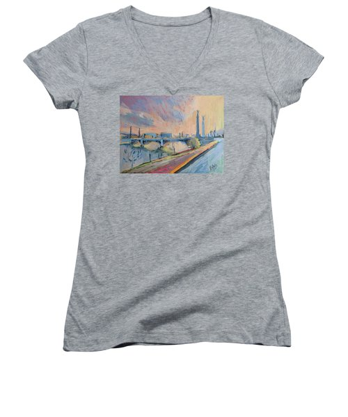 Sunset Pont Fragnee Women's V-Neck T-Shirt
