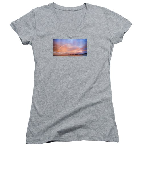 Sunset Rainbow Women's V-Neck T-Shirt (Junior Cut) by Steve Siri