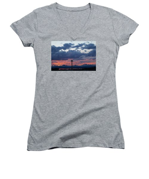 Sunset Red Clouds And Space Needle Women's V-Neck