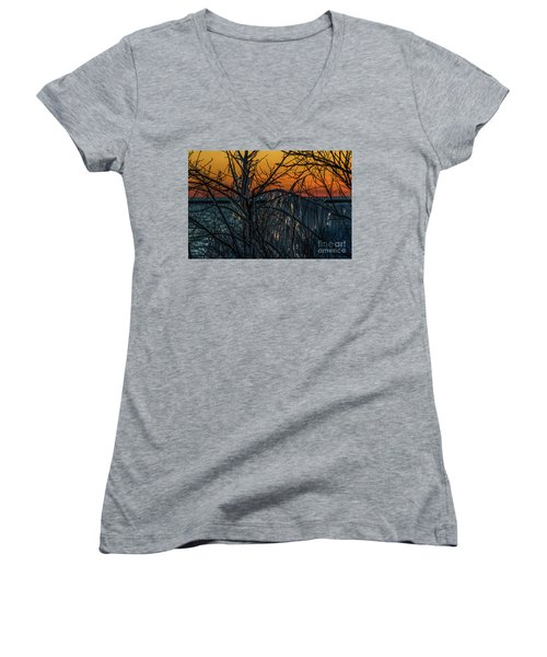 Sunset Reflecting Off Ice On Bare Trees Women's V-Neck