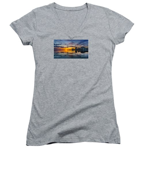 Sunset Reflection Women's V-Neck (Athletic Fit)