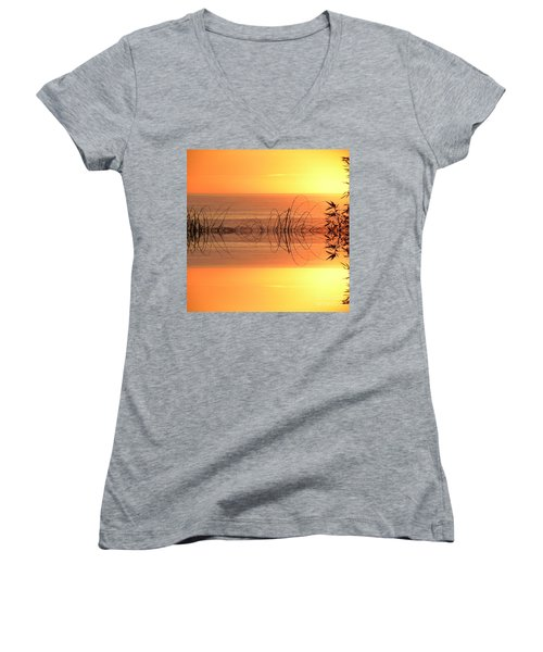 Sunset Reflection Women's V-Neck (Athletic Fit)
