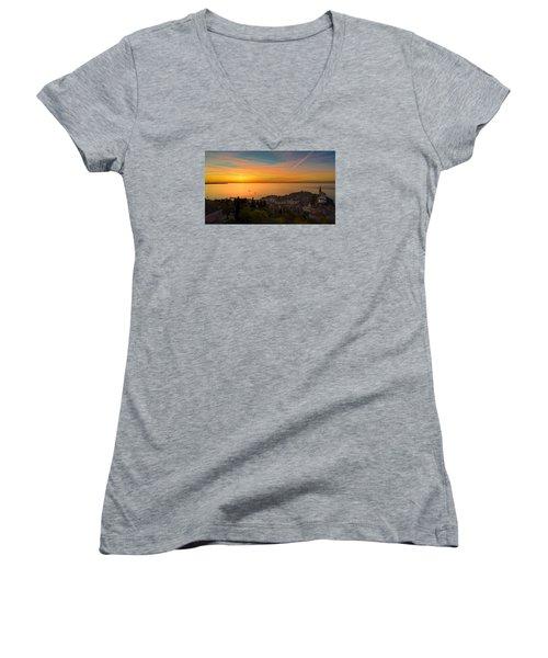 Sunset Women's V-Neck T-Shirt (Junior Cut) by Robert Krajnc