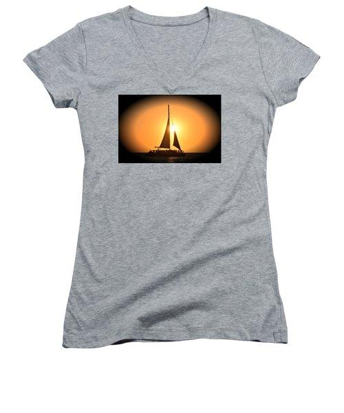 Sunset Sail Women's V-Neck T-Shirt (Junior Cut) by Gary Smith