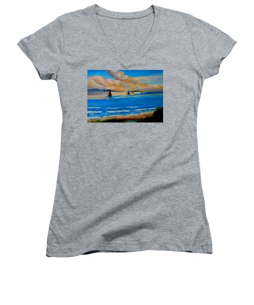 Sunset Sailing Women's V-Neck (Athletic Fit)